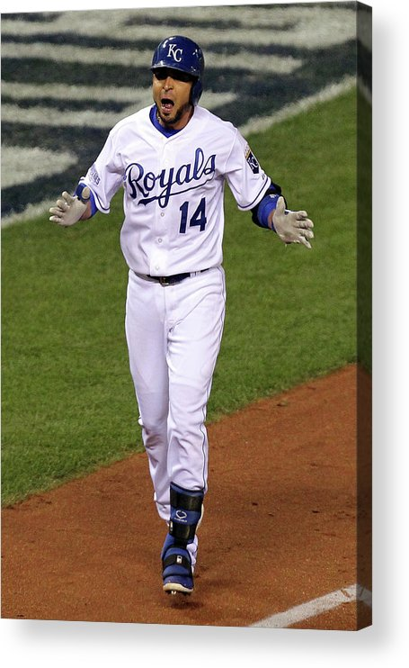 Game Two Acrylic Print featuring the photograph Omar Infante by Ed Zurga
