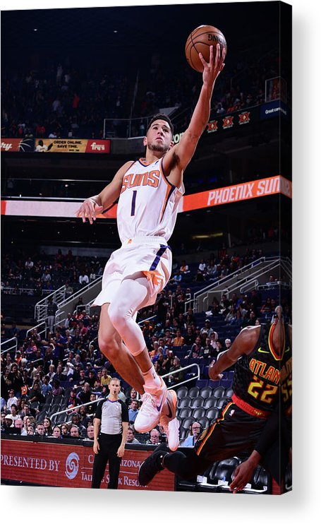 Nba Pro Basketball Acrylic Print featuring the photograph Devin Booker by Michael Gonzales