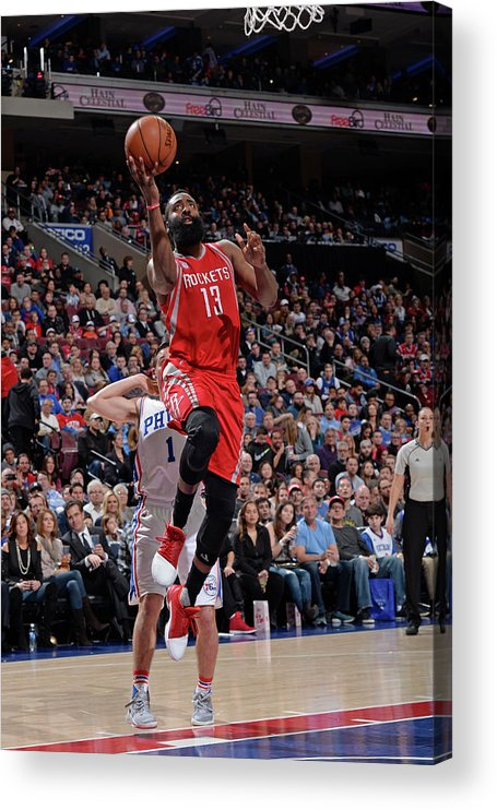 Nba Pro Basketball Acrylic Print featuring the photograph James Harden by David Dow