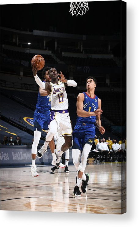 Nba Pro Basketball Acrylic Print featuring the photograph Los Angeles Lakers v Denver Nuggets by Garrett Ellwood