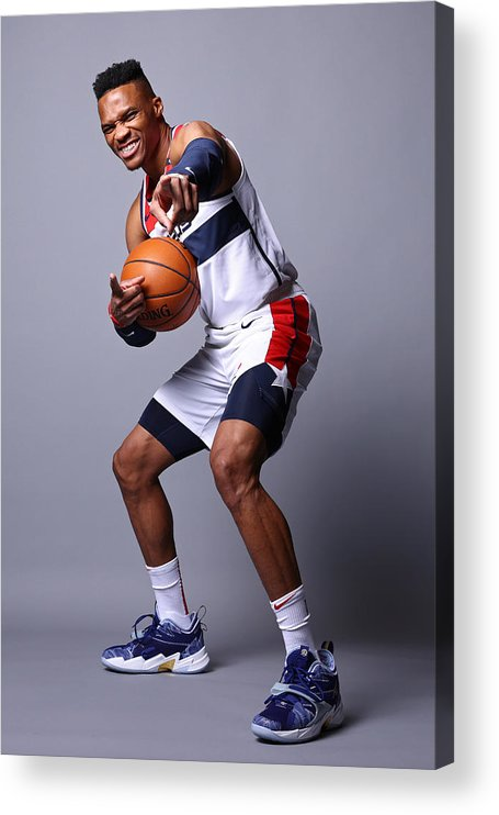 Media Day Acrylic Print featuring the photograph Russell Westbrook by Ned Dishman
