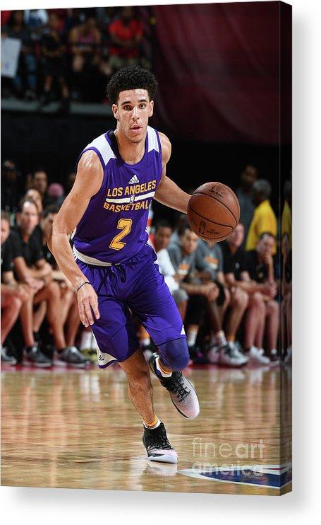 Nba Pro Basketball Acrylic Print featuring the photograph Lonzo Ball by Garrett Ellwood