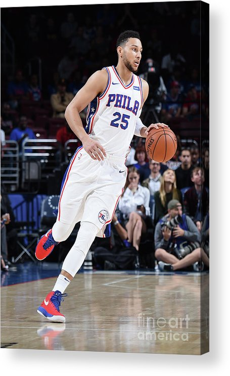 Nba Pro Basketball Acrylic Print featuring the photograph Ben Simmons by Brian Babineau