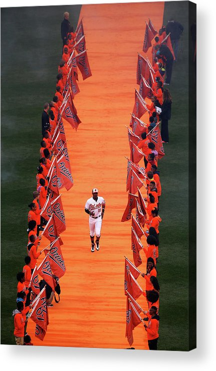 Adam Jones - Baseball Player Acrylic Print featuring the photograph Adam Jones by Rob Carr
