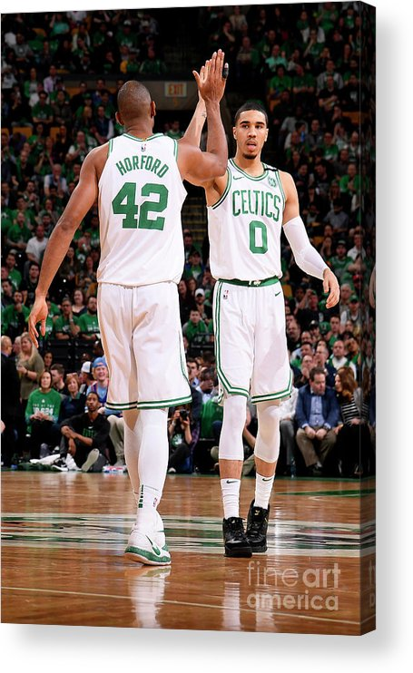 Playoffs Acrylic Print featuring the photograph Al Horford and Jayson Tatum by Brian Babineau