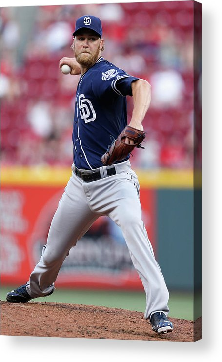 Great American Ball Park Acrylic Print featuring the photograph Andrew Cashner by Joe Robbins