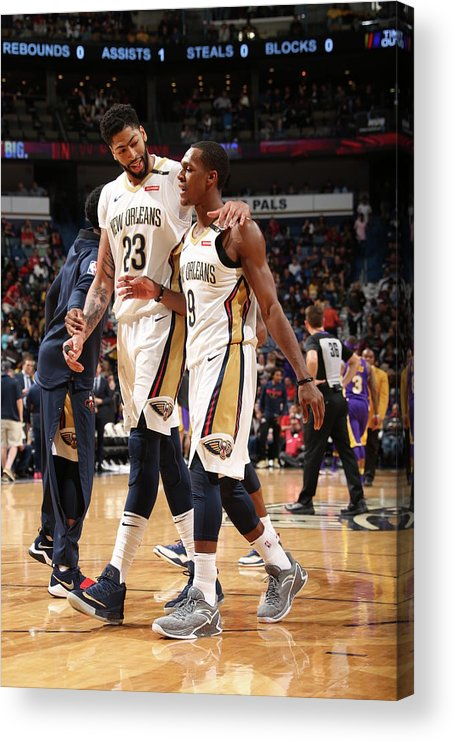 Smoothie King Center Acrylic Print featuring the photograph Anthony Davis and Rajon Rondo by Layne Murdoch