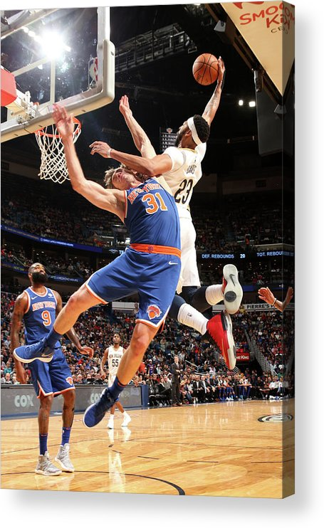 Smoothie King Center Acrylic Print featuring the photograph Anthony Davis and Ron Baker by Layne Murdoch