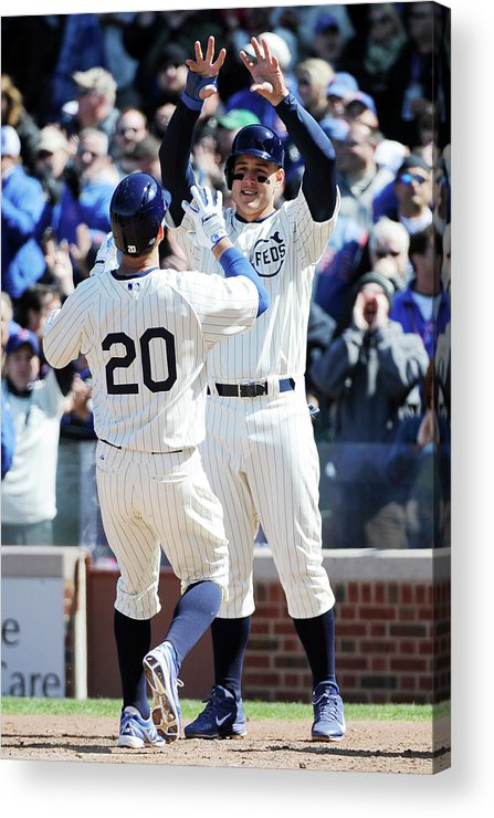 National League Baseball Acrylic Print featuring the photograph Anthony Rizzo and Justin Ruggiano by David Banks