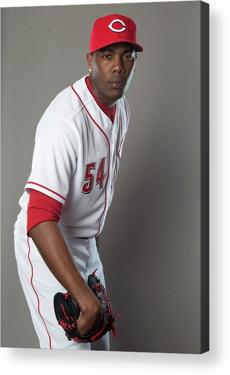 American League Baseball Acrylic Print featuring the photograph Aroldis Chapman by Mike Mcginnis