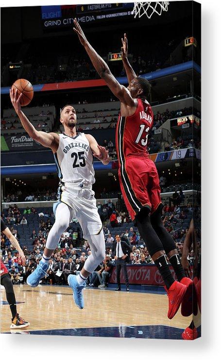 Nba Pro Basketball Acrylic Print featuring the photograph Bam Adebayo and Chandler Parsons by Joe Murphy
