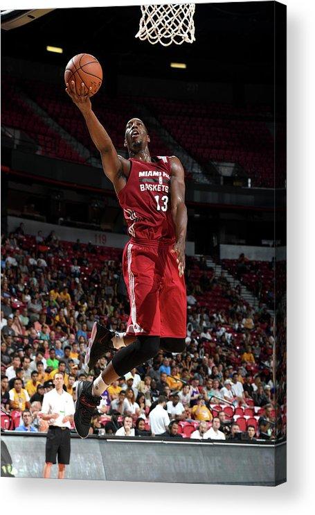 Nba Pro Basketball Acrylic Print featuring the photograph Bam Adebayo by Garrett Ellwood