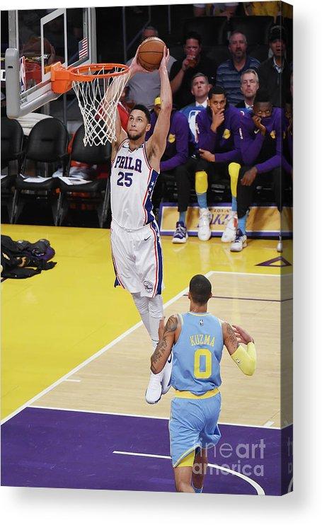 Nba Pro Basketball Acrylic Print featuring the photograph Ben Simmons by Adam Pantozzi