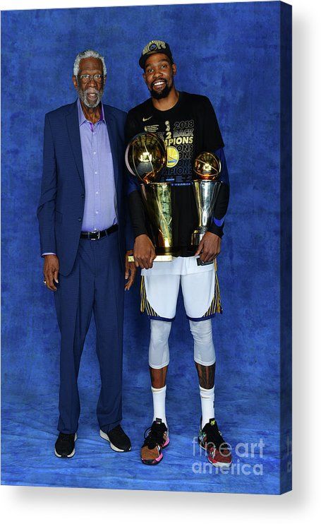 Playoffs Acrylic Print featuring the photograph Bill Russell and Kevin Durant by Jesse D. Garrabrant