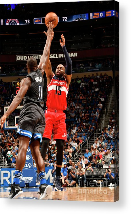 Nba Pro Basketball Acrylic Print featuring the photograph Bismack Biyombo and Marcus Thornton by Fernando Medina