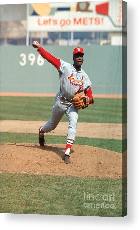 St. Louis Cardinals Acrylic Print featuring the photograph Bob Gibson by Louis Requena