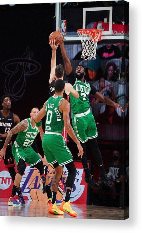 Playoffs Acrylic Print featuring the photograph Boston Celtics v Miami Heat - Game Three by Jesse D. Garrabrant