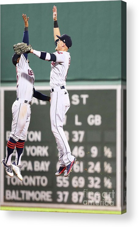 People Acrylic Print featuring the photograph Brandon Guyer and Francisco Lindor by Adam Glanzman