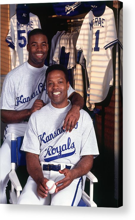 Locker Acrylic Print featuring the photograph Brian Mcrae and Hal Mcrae by Ronald C. Modra/sports Imagery