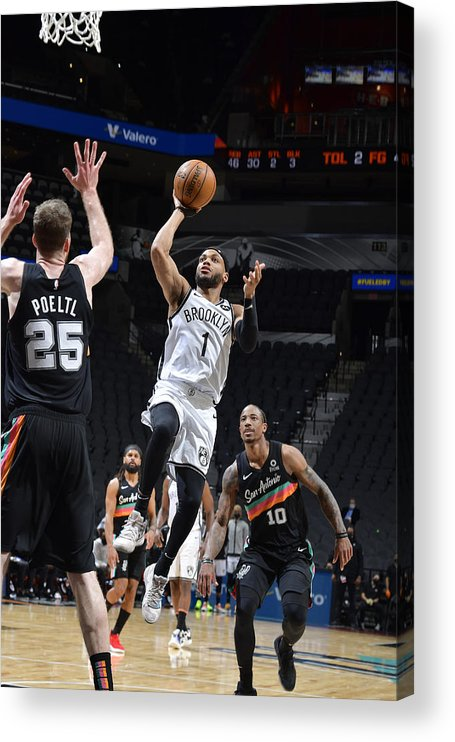 Nba Pro Basketball Acrylic Print featuring the photograph Brooklyn Nets v San Antonio Spurs by Logan Riely