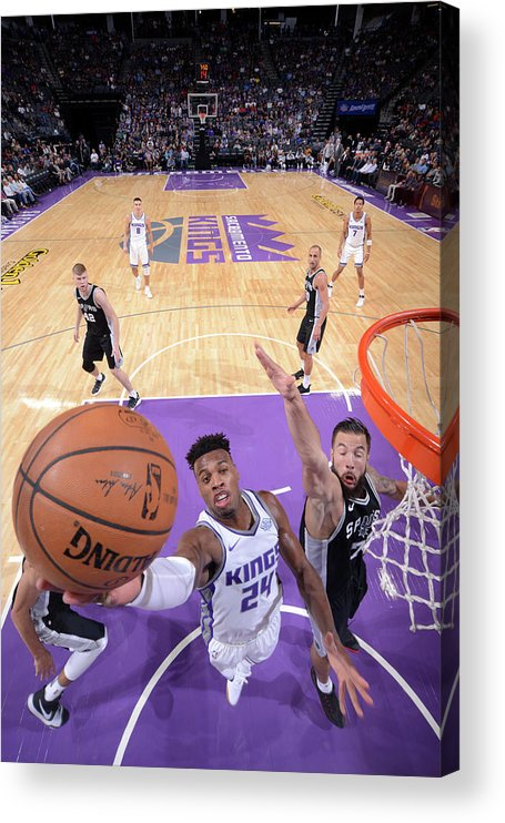 Nba Pro Basketball Acrylic Print featuring the photograph Buddy Hield and Joffrey Lauvergne by Rocky Widner