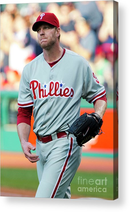 People Acrylic Print featuring the photograph Carlos Santana and Roy Halladay by Jason Miller