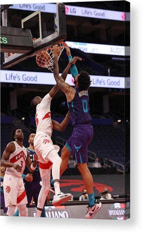 Nba Pro Basketball Acrylic Print featuring the photograph Charlotte Hornets v Toronto Raptors by NBA Photos