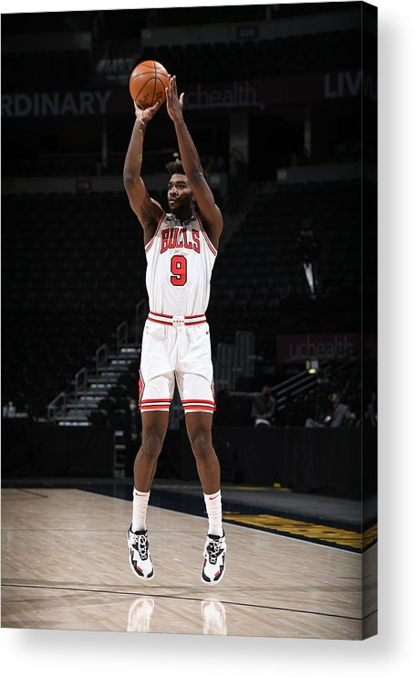 Nba Pro Basketball Acrylic Print featuring the photograph Chicago Bulls v Denver Nuggets by Garrett Ellwood