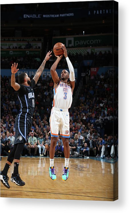 Nba Pro Basketball Acrylic Print featuring the photograph Chris Paul and D.j. Augustin by Zach Beeker