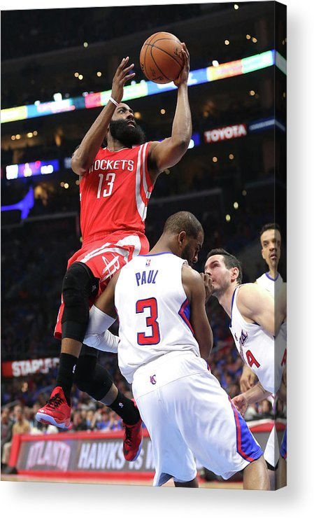 Playoffs Acrylic Print featuring the photograph Chris Paul and James Harden by Stephen Dunn