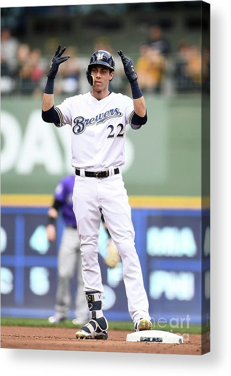 People Acrylic Print featuring the photograph Christian Yelich by Stacy Revere