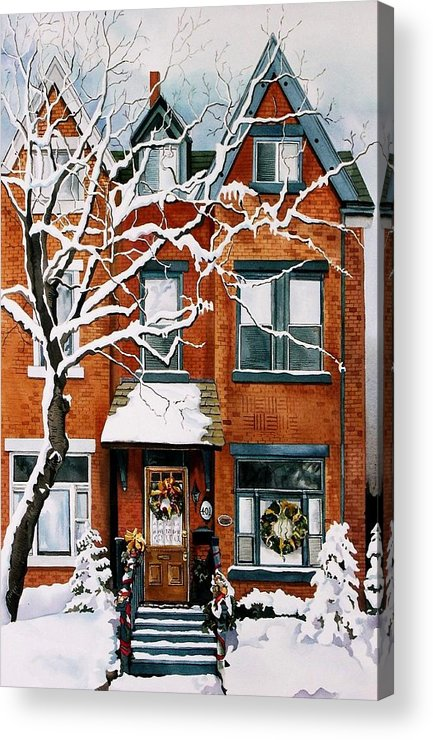 Christmas Holiday Snow Season Cityscape Winter Acrylic Print featuring the painting Christmas in Toronto by Alfred Ng