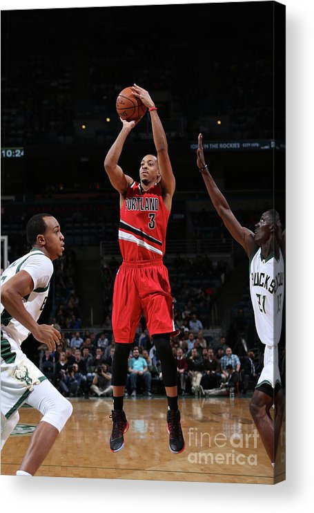 Nba Pro Basketball Acrylic Print featuring the photograph C.j. Mccollum by Gary Dineen