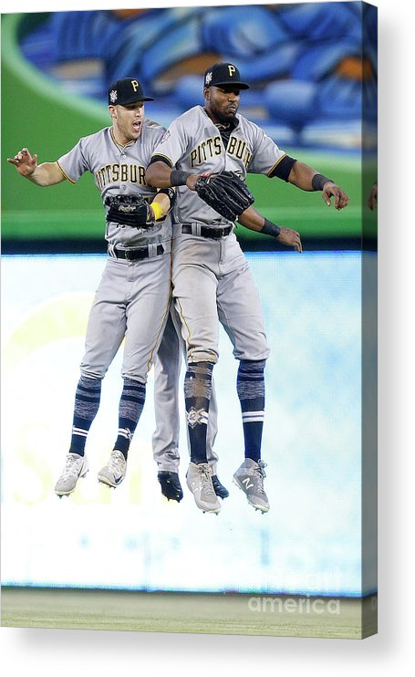 People Acrylic Print featuring the photograph Corey Dickerson, Starling Marte, and Gregory Polanco by Michael Reaves