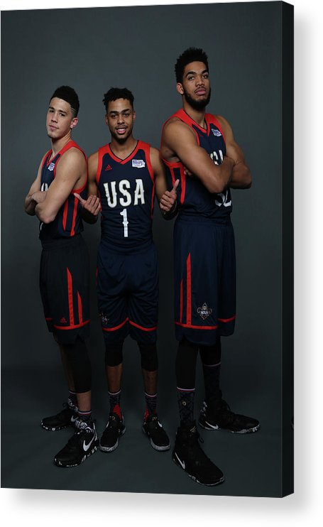 Smoothie King Center Acrylic Print featuring the photograph D'angelo Russell and Devin Booker by Gary Dineen