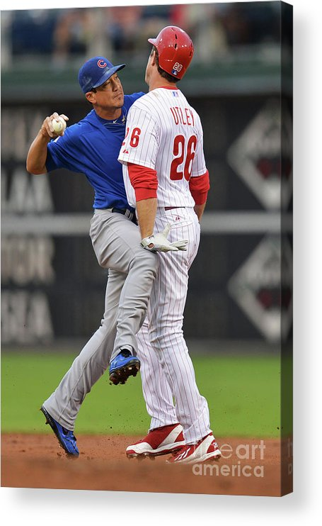 Double Play Acrylic Print featuring the photograph Darwin Barney and Chase Utley by Drew Hallowell