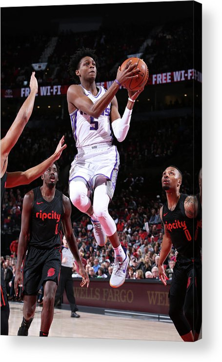 Nba Pro Basketball Acrylic Print featuring the photograph De'aaron Fox by Sam Forencich