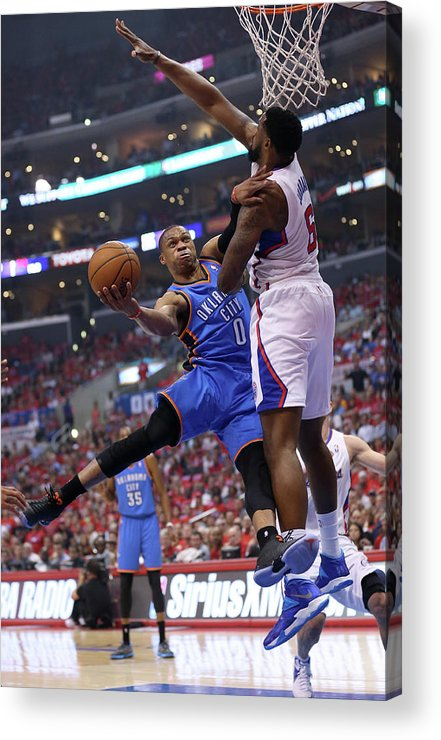 Playoffs Acrylic Print featuring the photograph Deandre Jordan and Russell Westbrook by Stephen Dunn