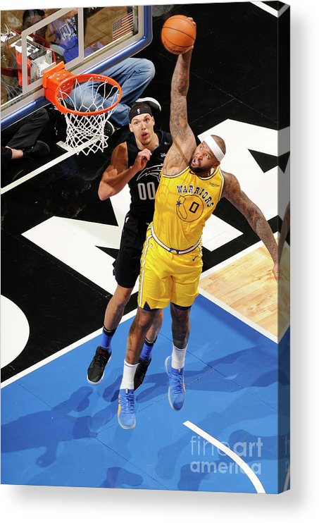 Nba Pro Basketball Acrylic Print featuring the photograph Demarcus Cousins and Aaron Gordon by Fernando Medina