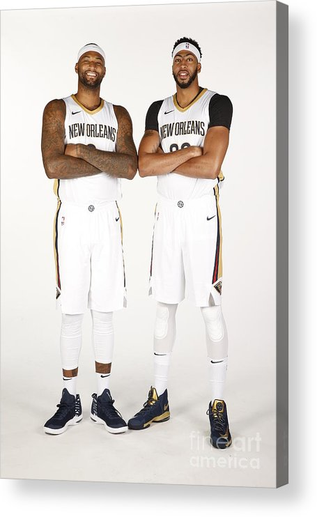 Media Day Acrylic Print featuring the photograph Demarcus Cousins and Anthony Davis by Jonathan Bachman