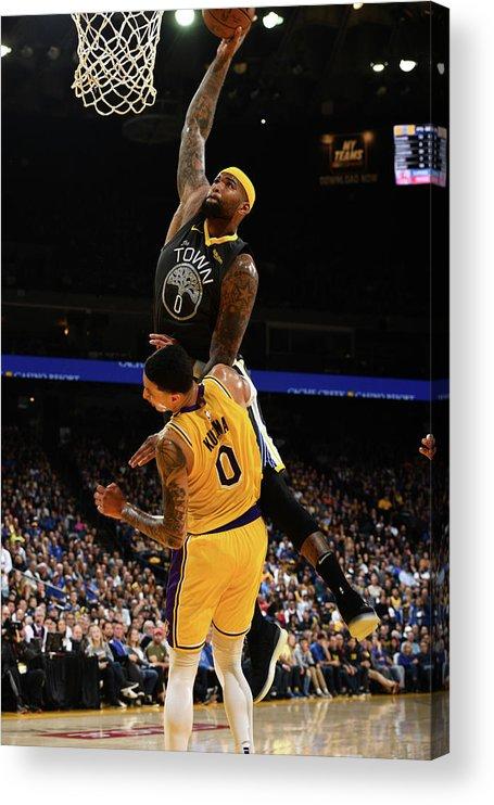 Nba Pro Basketball Acrylic Print featuring the photograph Demarcus Cousins and Kyle Kuzma by Garrett Ellwood