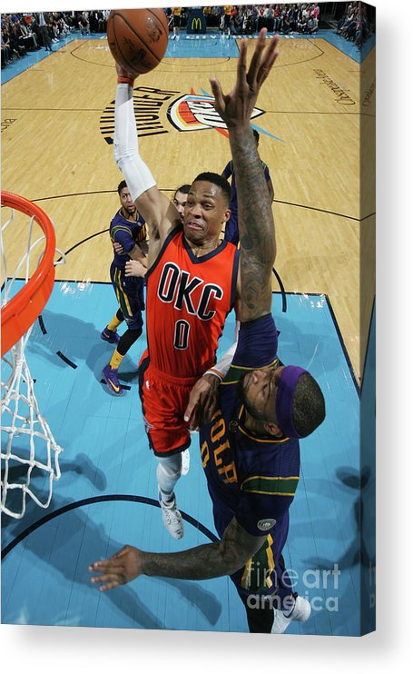 Nba Pro Basketball Acrylic Print featuring the photograph Demarcus Cousins and Russell Westbrook by Layne Murdoch