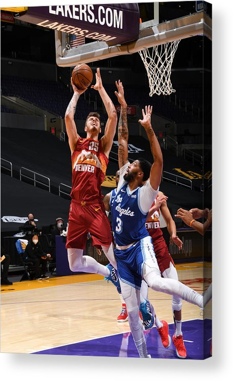 Nba Pro Basketball Acrylic Print featuring the photograph Denver Nuggets v Los Angeles Lakers by Adam Pantozzi