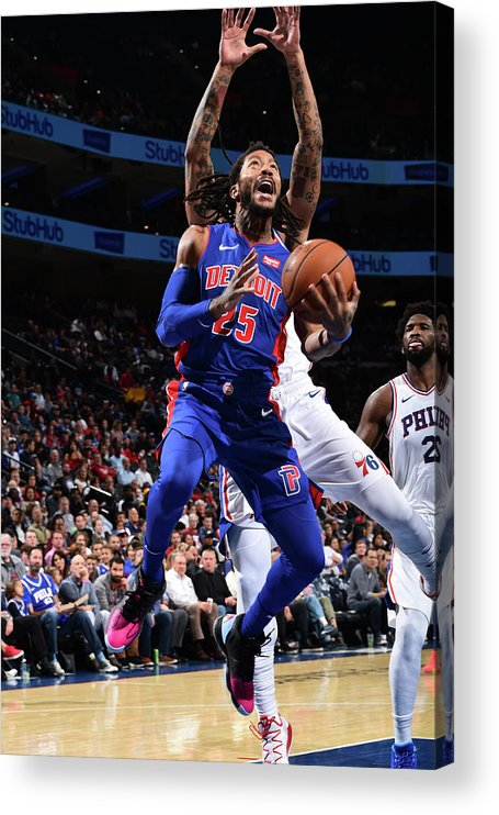 Nba Pro Basketball Acrylic Print featuring the photograph Derrick Rose and Joel Embiid by David Dow