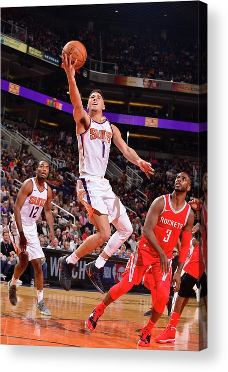 Nba Pro Basketball Acrylic Print featuring the photograph Devin Booker and Chris Paul by Barry Gossage