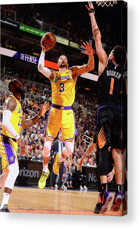 Nba Pro Basketball Acrylic Print featuring the photograph Devin Booker and Josh Hart by Barry Gossage