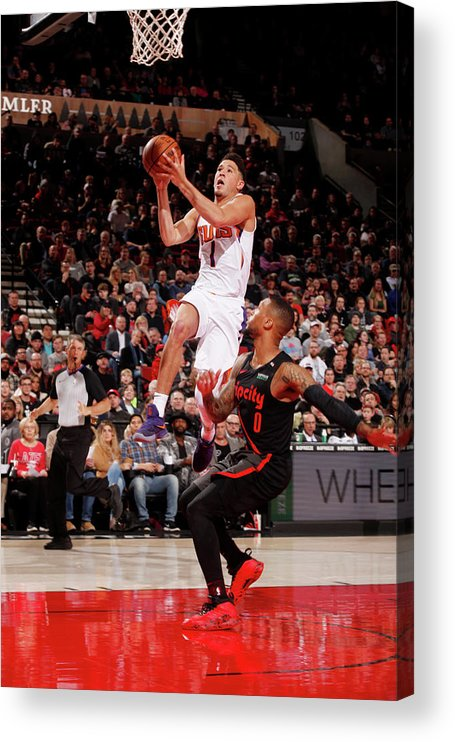 Nba Pro Basketball Acrylic Print featuring the photograph Devin Booker by Cameron Browne