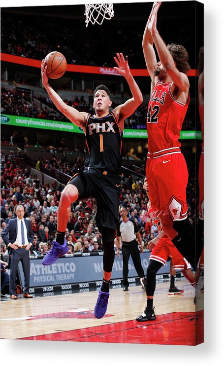Nba Pro Basketball Acrylic Print featuring the photograph Devin Booker by Jeff Haynes