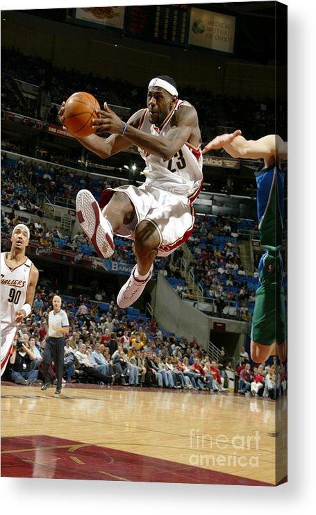 Nba Pro Basketball Acrylic Print featuring the photograph Dirk Nowitzki and Lebron James by David Liam Kyle