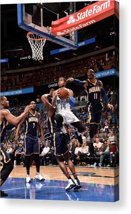Nba Pro Basketball Acrylic Print featuring the photograph D.j. Augustin by Gary Bassing